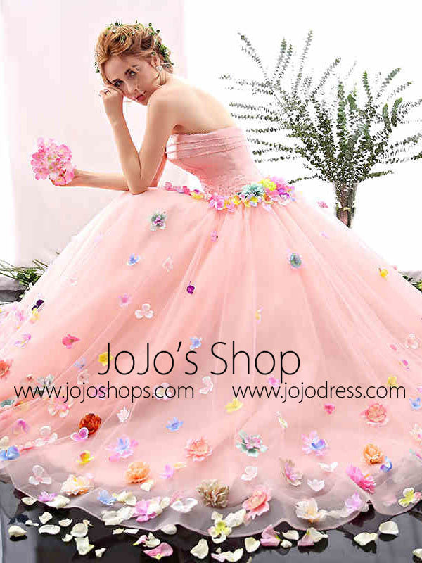 Blush Pink Strapless Ball Gown Formal Prom Dress with Colored Flowers | X1601