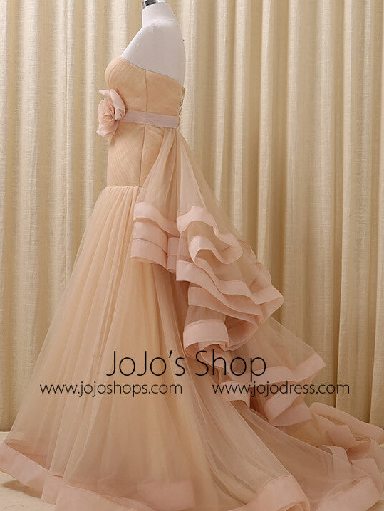Strapless Champagne Tulle Prom Formal Evening Dress | RS3004
