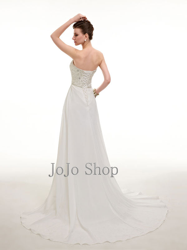 Strapless Chiffon Wedding Dress with Jeweled Beadings