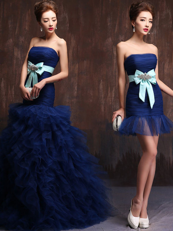 Strapless Dark Blue 2 piece Convertible Evening Dress Ball Gown and Cocktail Dress in One