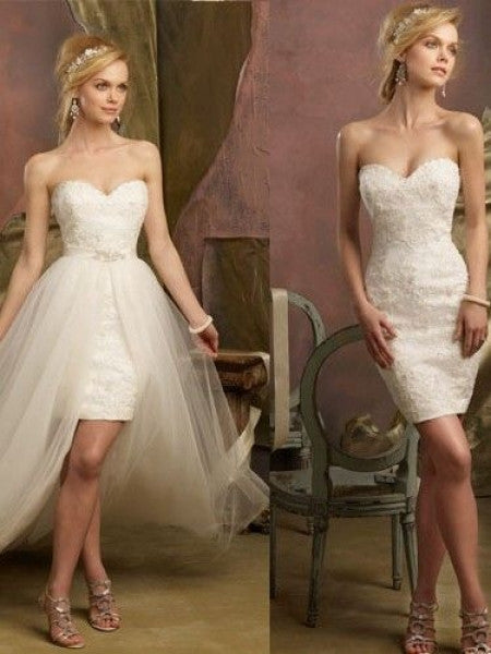 2 Piece Wedding Dress with Convertible Skirt Reception Dress