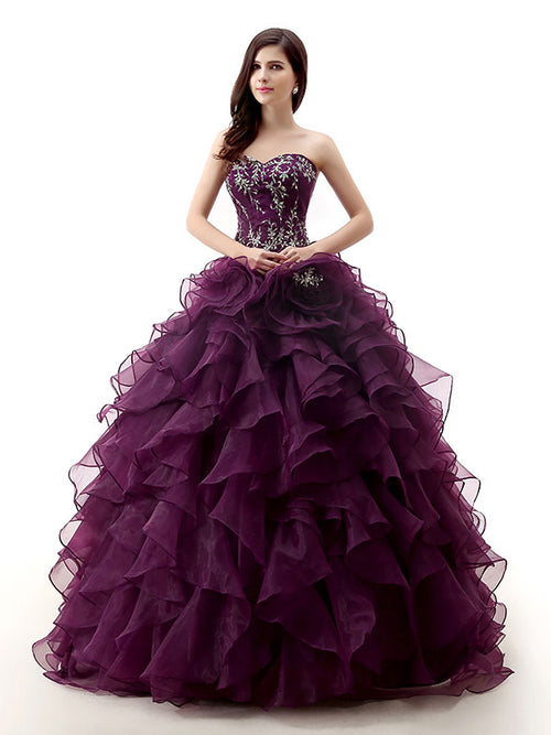 Strapless Dark Purple Quinceanera Ball Gown Formal Dress