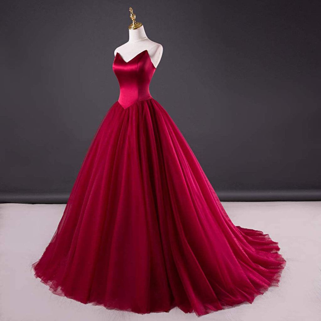 Dark Red Strapless Ball Gown Wedding Dress ET3003
