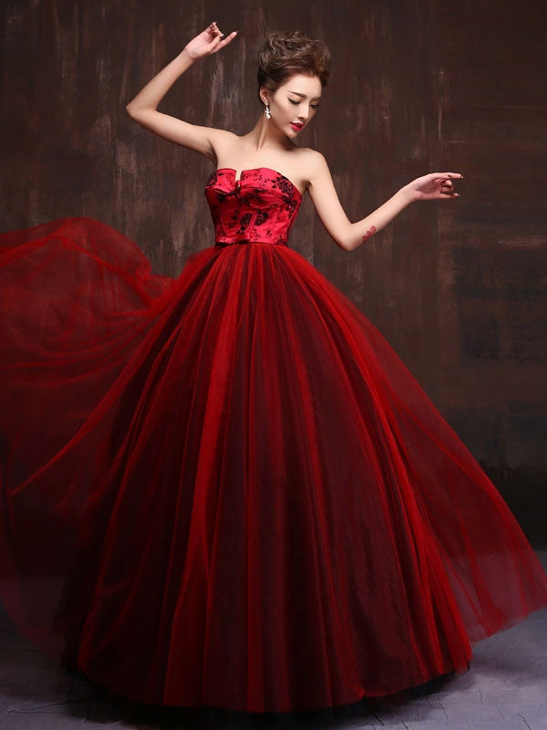Strapless Royal Scarlet Red Quinceanera Ball Gown Dress Jojo Shop