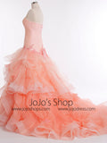 Strapless Peach Fit and Flare Formal Prom Pageant Ball Gown | RS3016