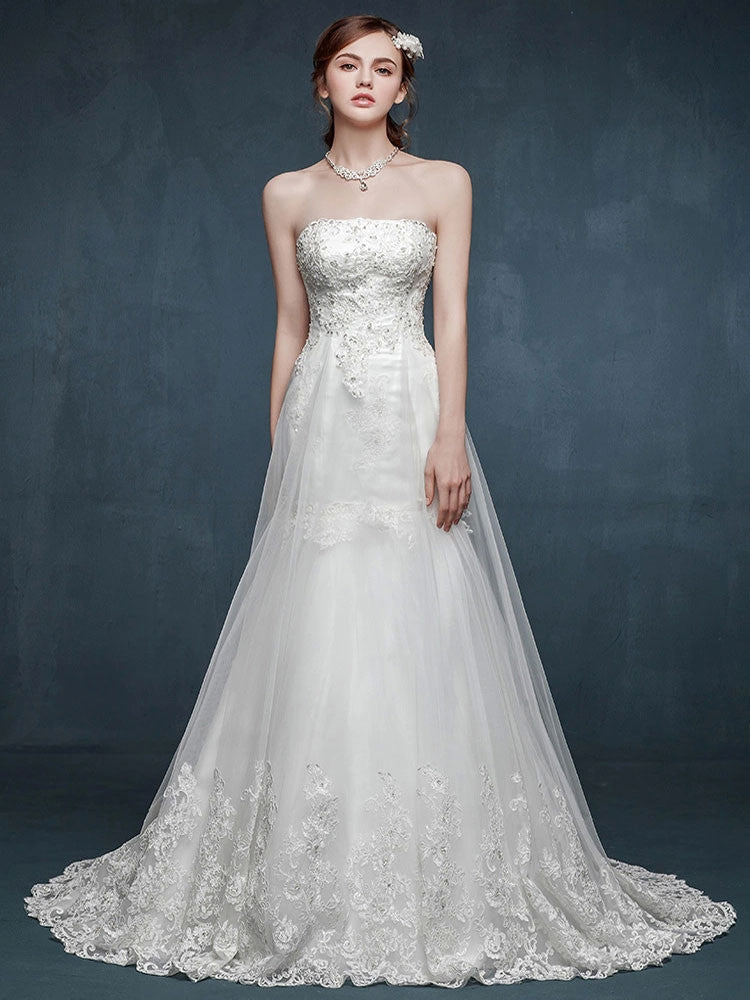 Strapless Fit and Flare Lace Wedding Dress