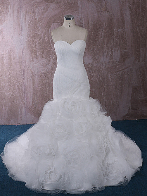Strapless Fit And Flare Wedding Dress With Rosette Ruffle Skirt - Rosette Wedding Dress