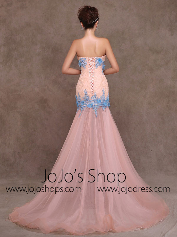 Whimsical Strapless Fitted Peach Lace Formal Evening Prom Dress X010