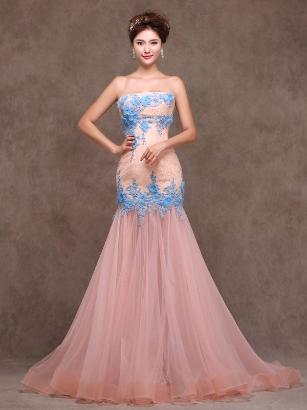 Whimsical Strapless Fitted Peach Lace Formal Evening Prom Dress X010 ...