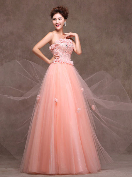 Whimsical Strapless Floral Blush Pink Formal Prom Evening Dress with Lace Bodice X003