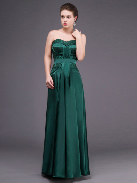 Strapless Forest Green Long Formal Prom Dress