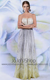 Strapless Grecian Soft Gray Chiffon Formal Prom Evening Dress | DQ831282