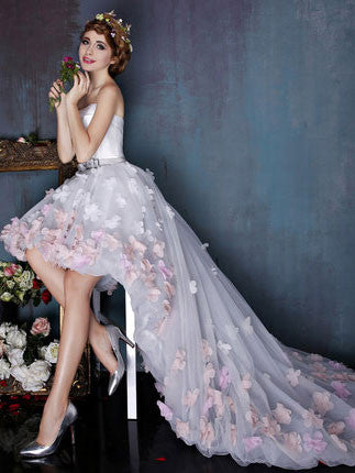 Hi-Low Tulle Formal Dress with Flowers Sprinkled Skirt