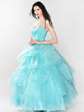 Strapless Ice Blue Ball Gown Prom Formal Dress | RS3015