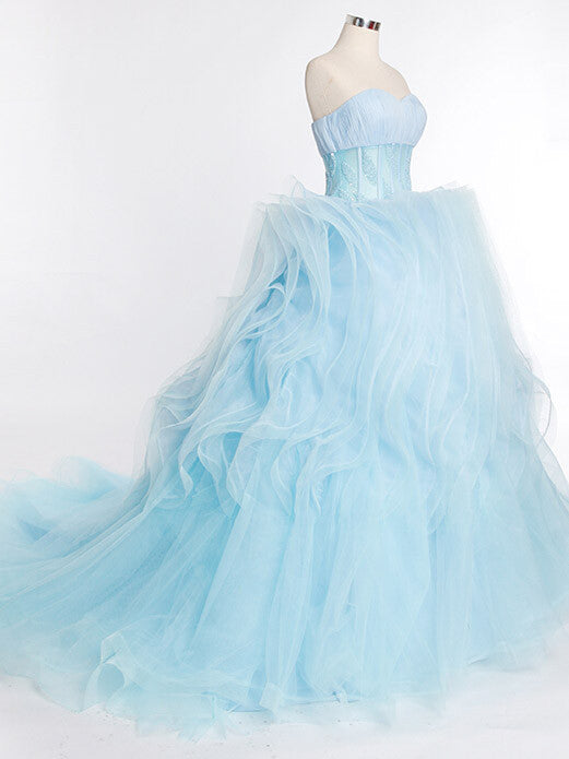 Ice Blue Strapless Formal Prom Beauty Pageant Ball Gown With Ruffle Skirt | RS3013