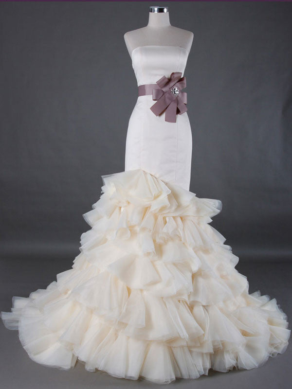 Strapless fit and flare wedding dress with tiered ruffle for Tiered ruffle wedding dress