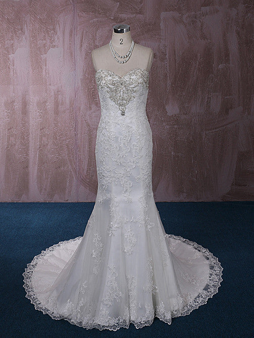 Strapless Mermaid Lace Dress with Jeweled Neckline | QT815005