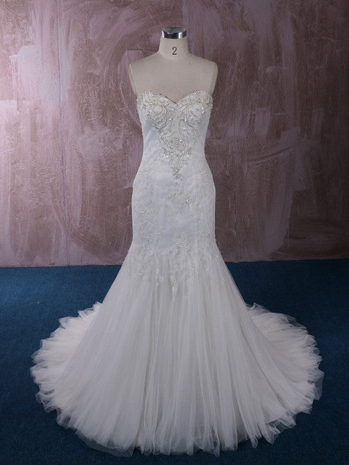 Strapless Mermaid Lace Wedding Dress with Jeweled Bodice | QT85856