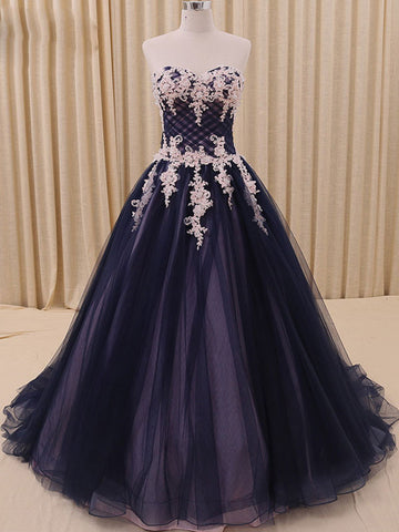 Navy Tulle Ball Gown Formal Prom Dress
