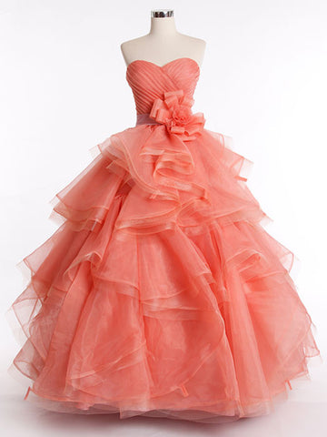 Strapless Orange Ball Gown Prom Dress with Tiered Ruffle Skirt | RS3015