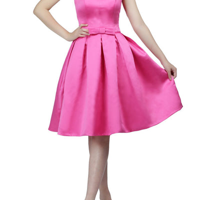 Strapless Pink Knee Length Cocktail Dress