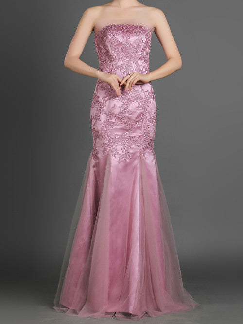 Strapless Mermaid Style Lace Formal Evening Dress