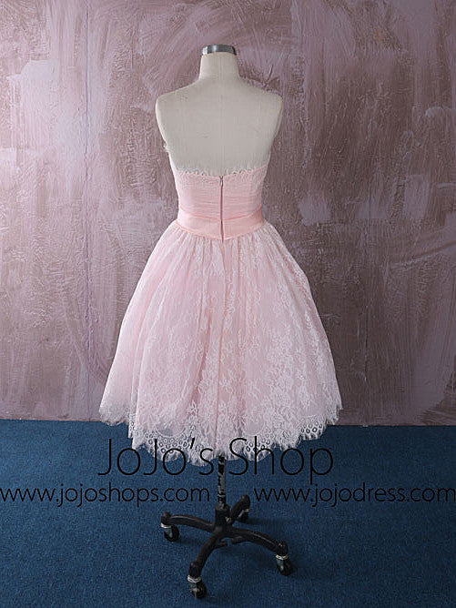 Strapless Short Pink Lace Wedding Dress Reception Dress | QT815012