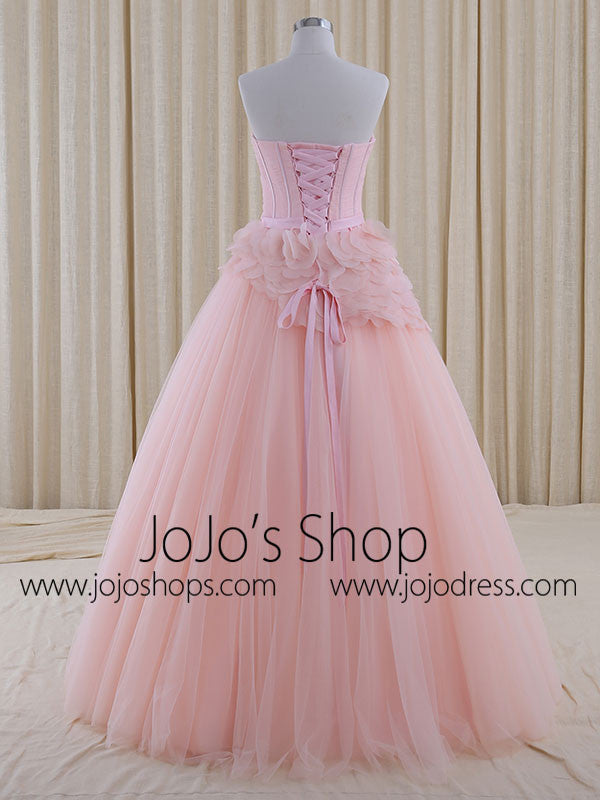 Strapless Blush Pink A-line Whimsical Princess Prom Formal Evening Dress