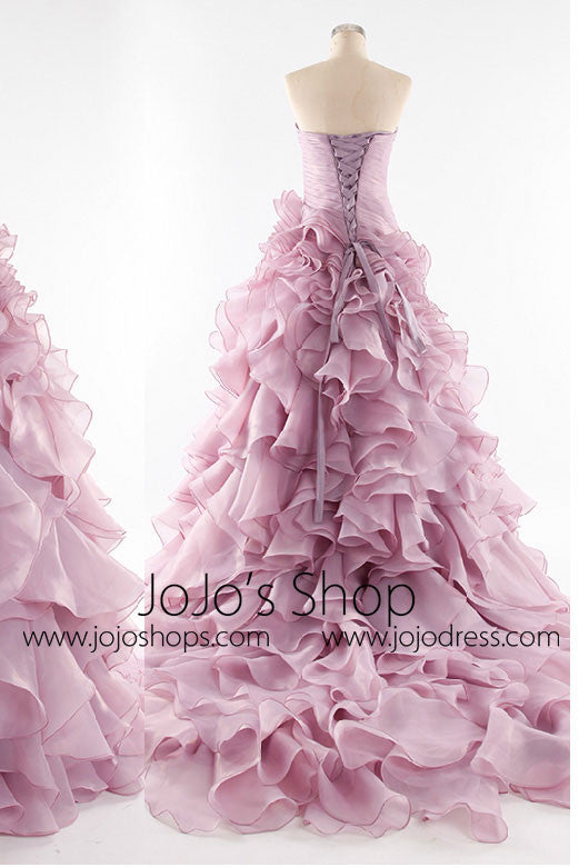Strapless Organza Ruffles Evening Dress Prom Dress Homecoming Dress G8001