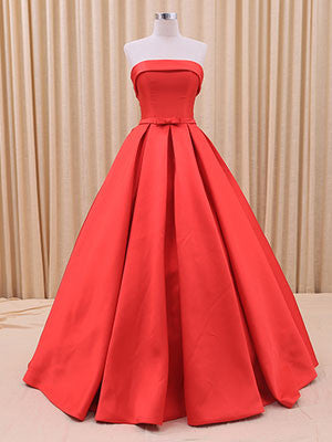 Strapless Red Ball Gown Formal Dress with Chic Bow
