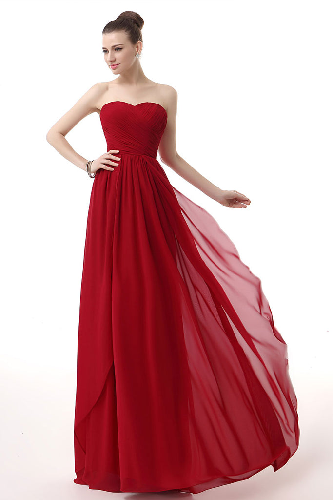 Strapless Red Long Chiffon Evening Dress