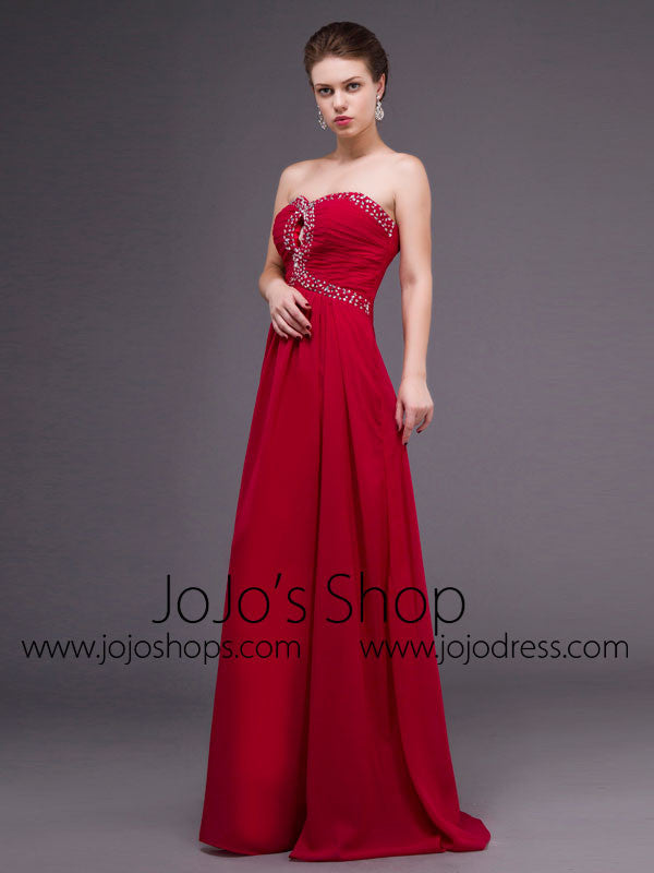 Strapless Red Chiffon Long Formal Prom Dress