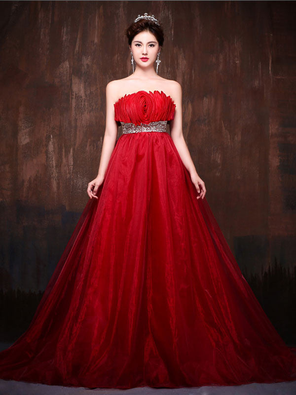 Strapless Red Rosette Ball Gown Formal Evening Prom Dress X001