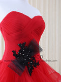 Strapless Red Tulle Ruffles Prom Formal Evening Dress | RS3011