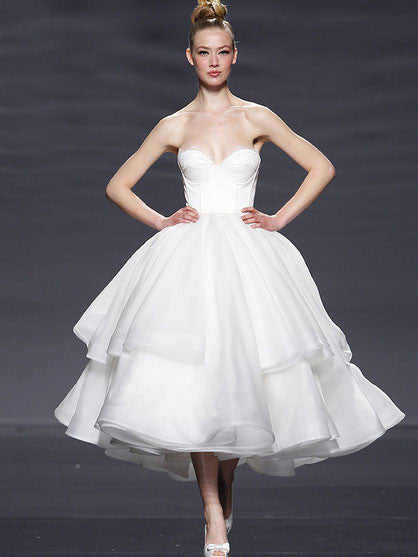 Retro 50s Strapless Organza Tiered Tea Length Tulle