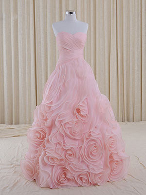 Pink Strapless Sweetheart Evening Dress with Rosette Ruffles
