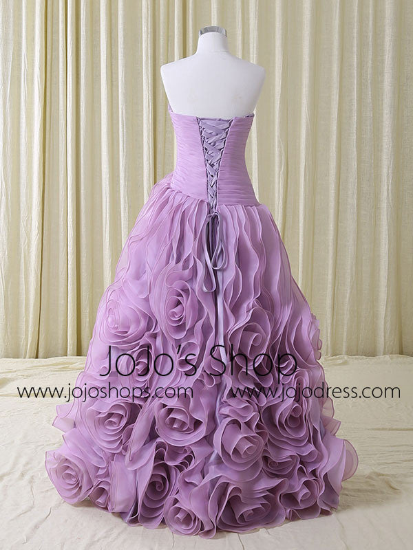 Purple Strapless Sweetheart Evening Dress with Rosette Ruffles