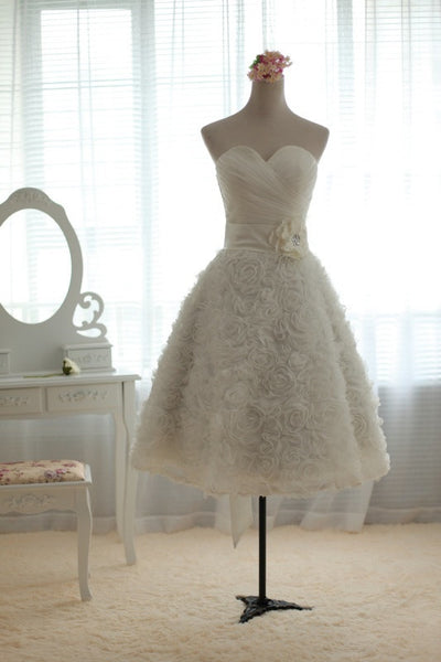 Strapless Short Wedding Dress with Rosette Lace