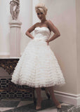 Retro 50s Strapless Wedding Dress with Ruffle Skirt