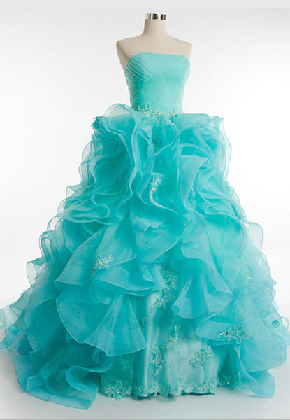 Turquoise Organza Prom Dress Pageant Evening Dress G8006B