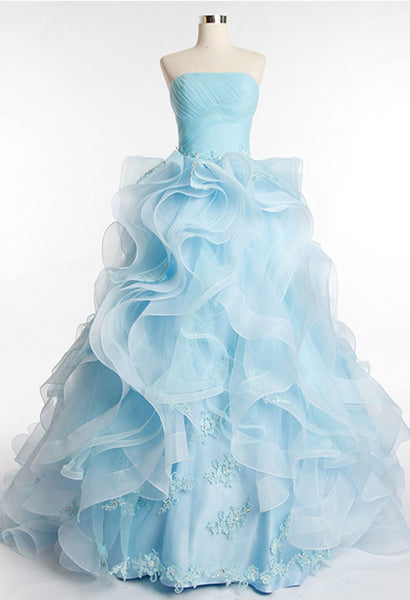Ice Blue Organza Prom Dress Pageant Evening Dress G8006