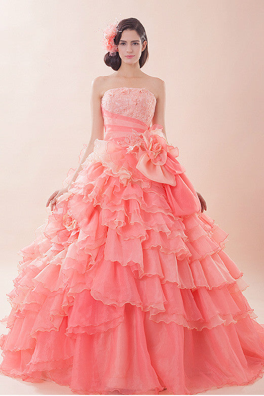 Glamorous Pink Quinceanera Ball Gown with Ruffles G2015