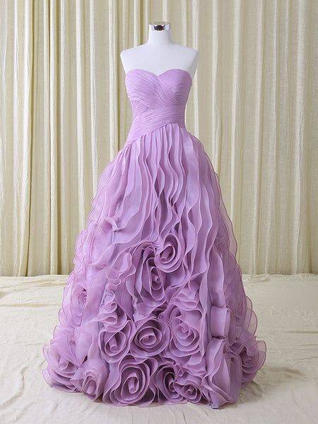 Strapless Purple Rosette Ruffles Formal Prom Home Coming Ball Gown
