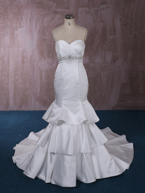 d725343d33a0 Strapless Satin Mermaid Wedding Dress with Tiered Ruffle Skirt | QT815003
