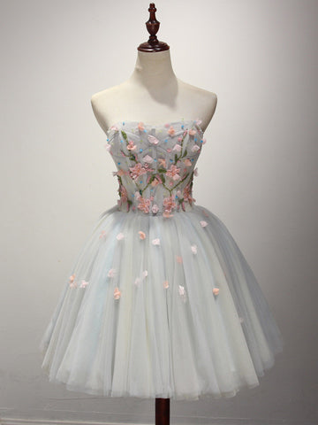 Short Strapless Prom Dress with Floral Applique