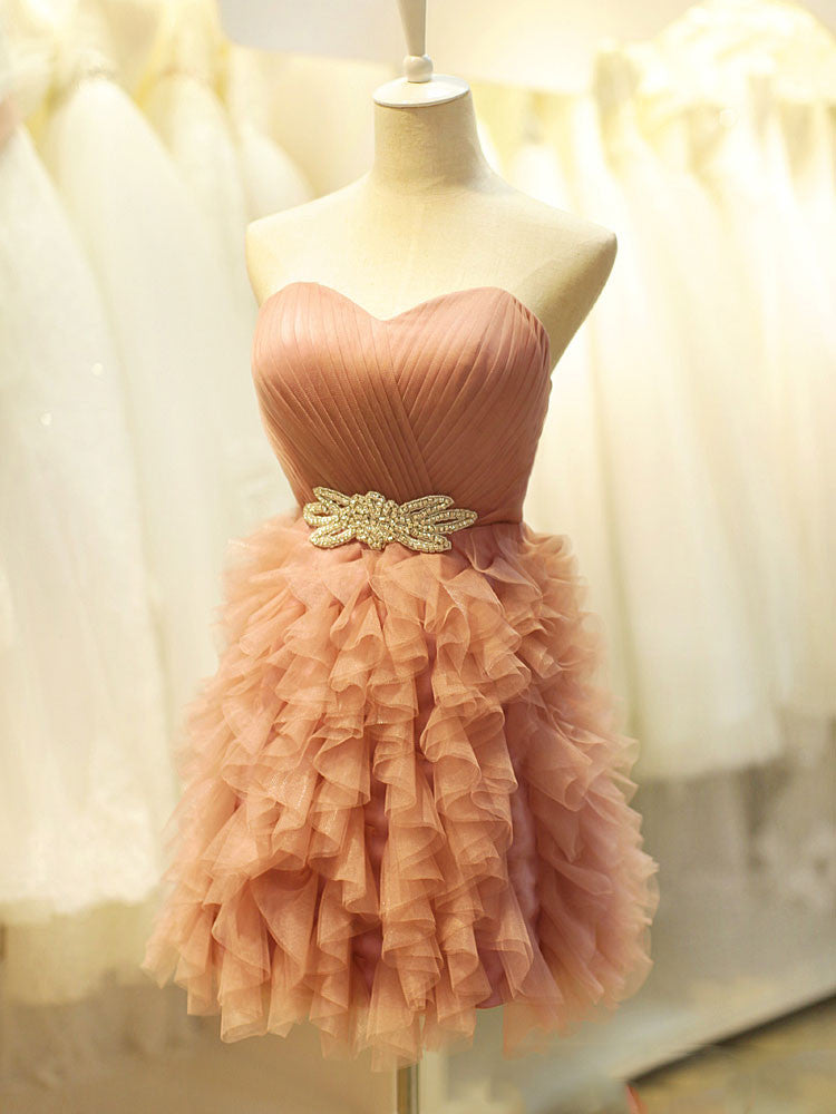 Short Cocktail Formal Dress with Ruffle Skirt