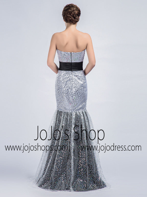 Strapless Mermaid Formal Prom Dress with Sequin Lace