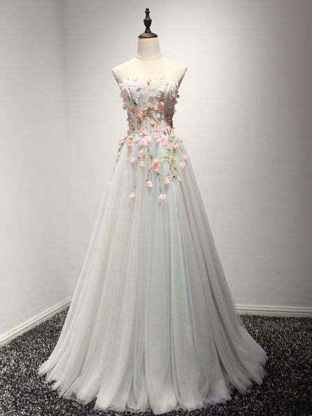 Strapless Soft Gray Prom Formal Home Coming Dress with Flowers