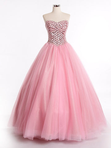 Strapless Pink Ball Gown Evening Dress with Sparkly Bodice | RS3007