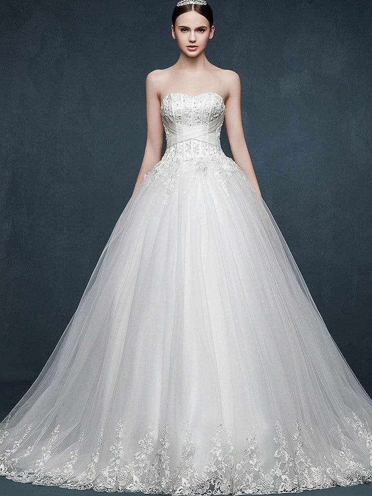 Strapless Lace Ball Gown Dress With Sweetheart Neckline Jojo Shop